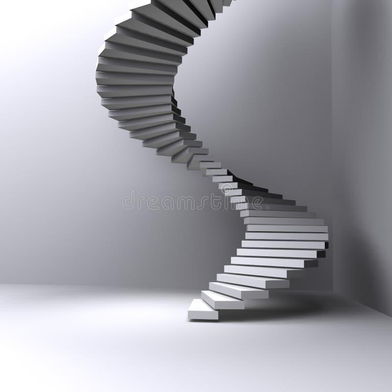 Escaliers allumés dans une salle foncée illustration libre de droits