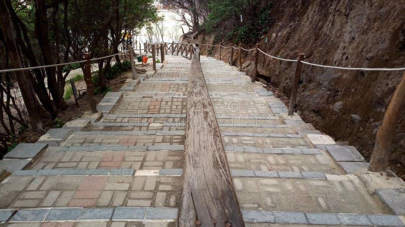 Escaliers au secteur de putih de Kawah image stock