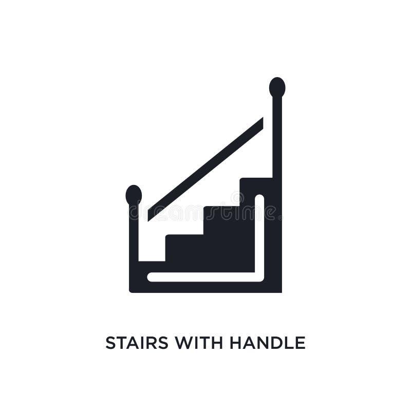 escaliers avec l'icône d'isolement par poignée illustration simple d'élément des icônes de concept de construction escaliers avec illustration libre de droits