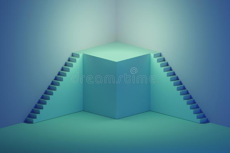 Escaliers avec le podium sur le fond bleu illustration de vecteur