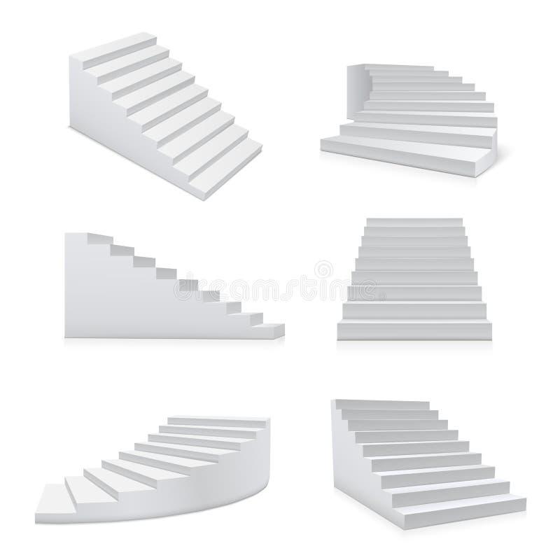 Escaliers blancs élément réaliste d'ensemble, d'architecture et de progrès illustration libre de droits
