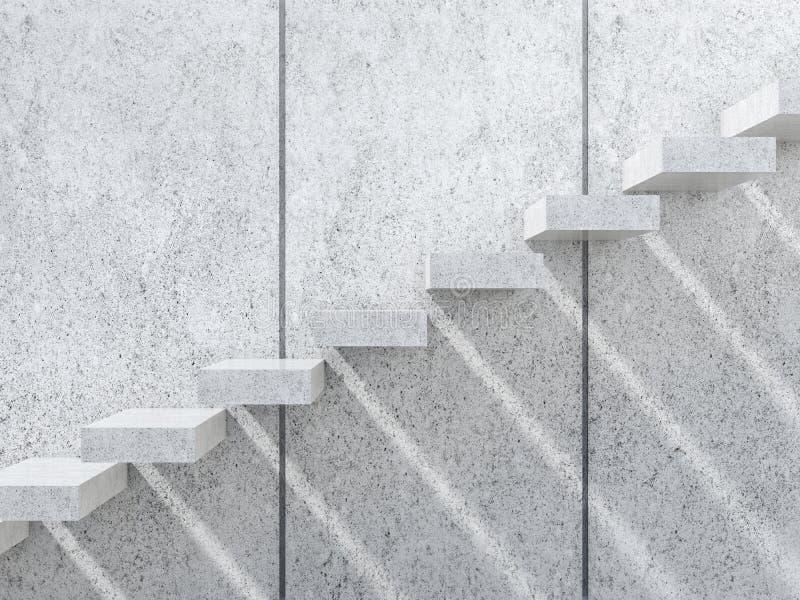 Escaliers concrets avec des ombres sur le mur 3d illustration stock