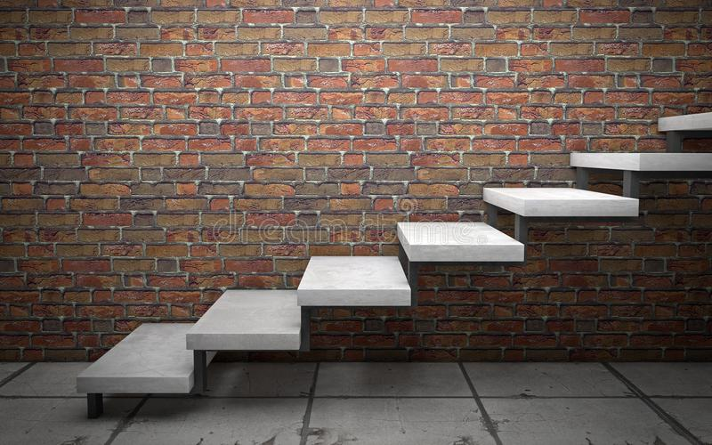 Escaliers concrets sur le mur de briques rendu 3d illustration de vecteur