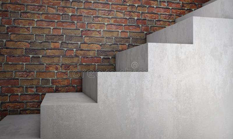 Escaliers concrets sur le mur de briques rendu 3d illustration libre de droits