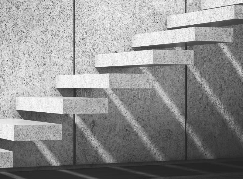 Escaliers concrets sur le mur illustration 3D illustration libre de droits