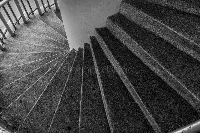 Escaliers curvilignes Vue supérieure de détail moderne d'architecture photographie stock
