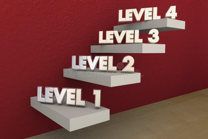 Escaliers d'étapes de niveaux 1 à s'élever 4 en hausse plus haut illustration de vecteur