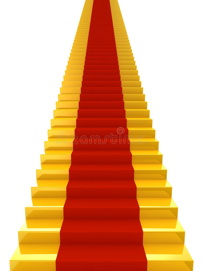 Escaliers d'or avec du tapis rouge illustration de vecteur