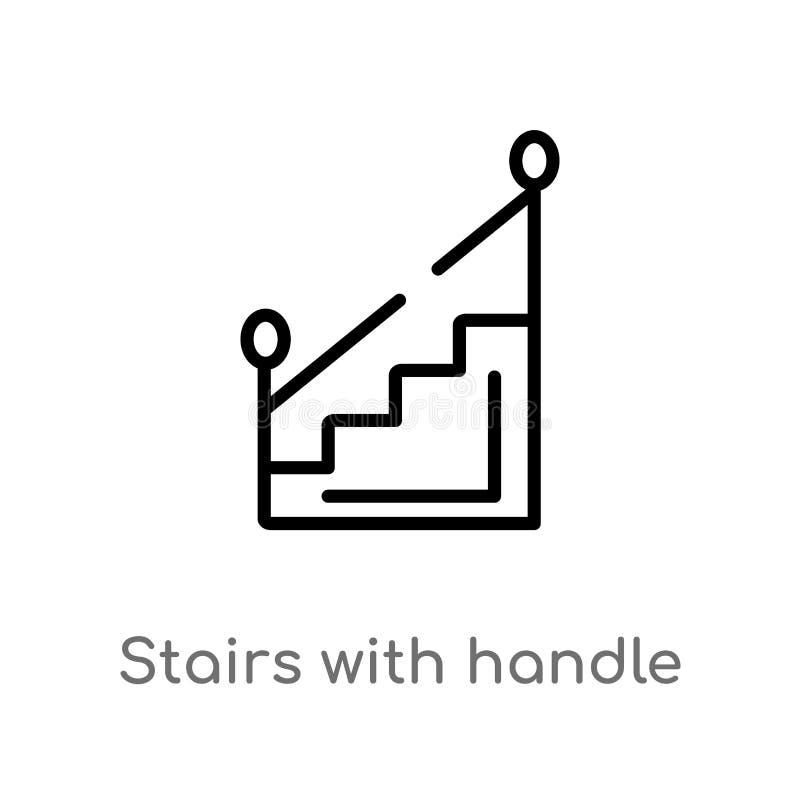 escaliers d'ensemble avec l'icône de vecteur de poignée ligne simple noire d'isolement illustration d'élément de concept de const illustration stock