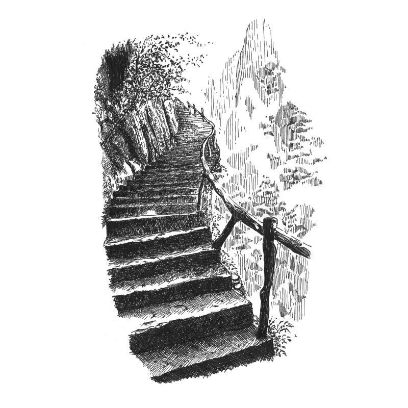 Escaliers dans les montagnes illustration libre de droits