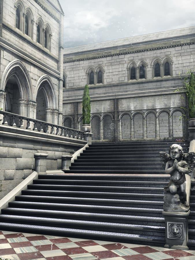 Escaliers dans une cour illustration libre de droits
