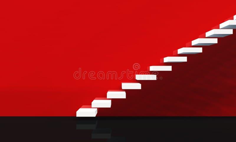 Escaliers de concept - blanc sur le rouge 01 illustration stock