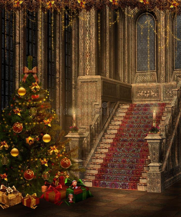 Escaliers de Noël illustration stock