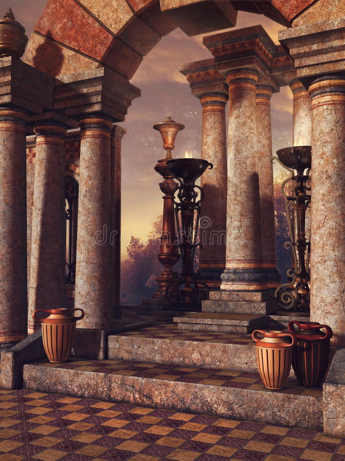 Escaliers de palais avec des vases illustration de vecteur