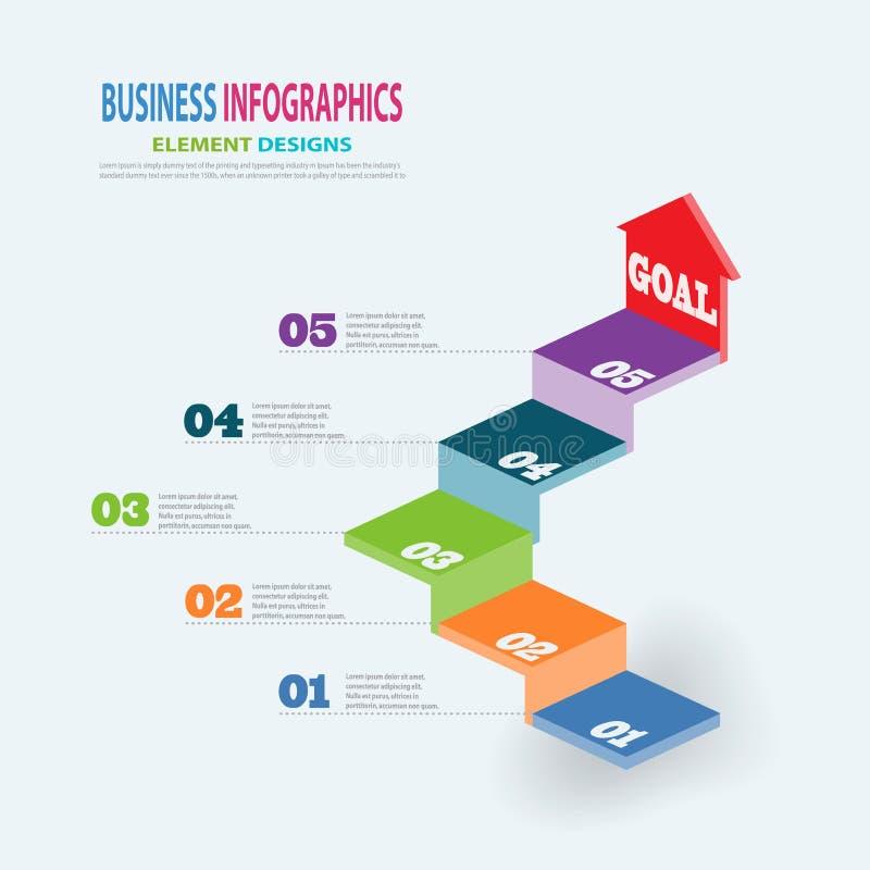 Escaliers du calibre 3D d'affaires d'Infographics avec la fl?che illustration stock