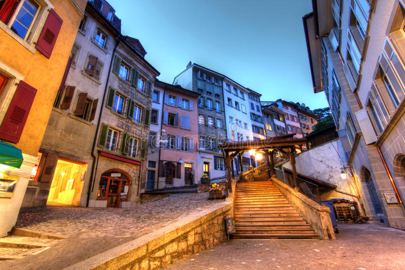Escaliers du Marche, Lausanne, Switzerland stock photography