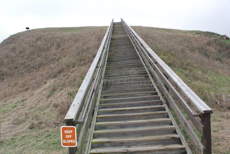 Escaliers du monticule A de monticule de temple du monticule d'Etowah images libres de droits