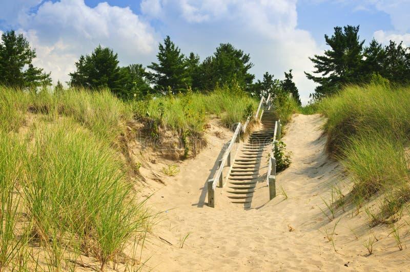 Escaliers en bois au-dessus des dunes à la plage photo stock