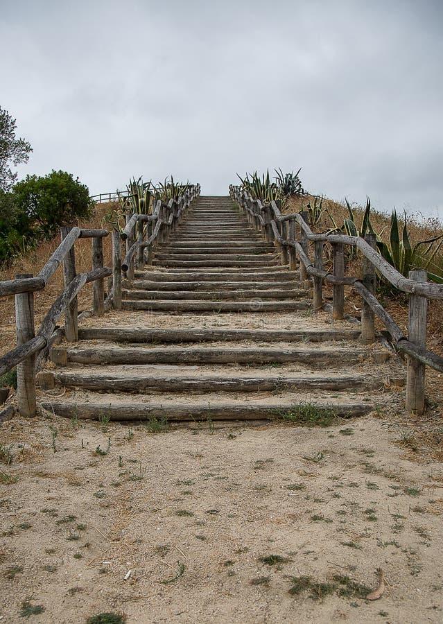 Escaliers en bois rustiques images libres de droits