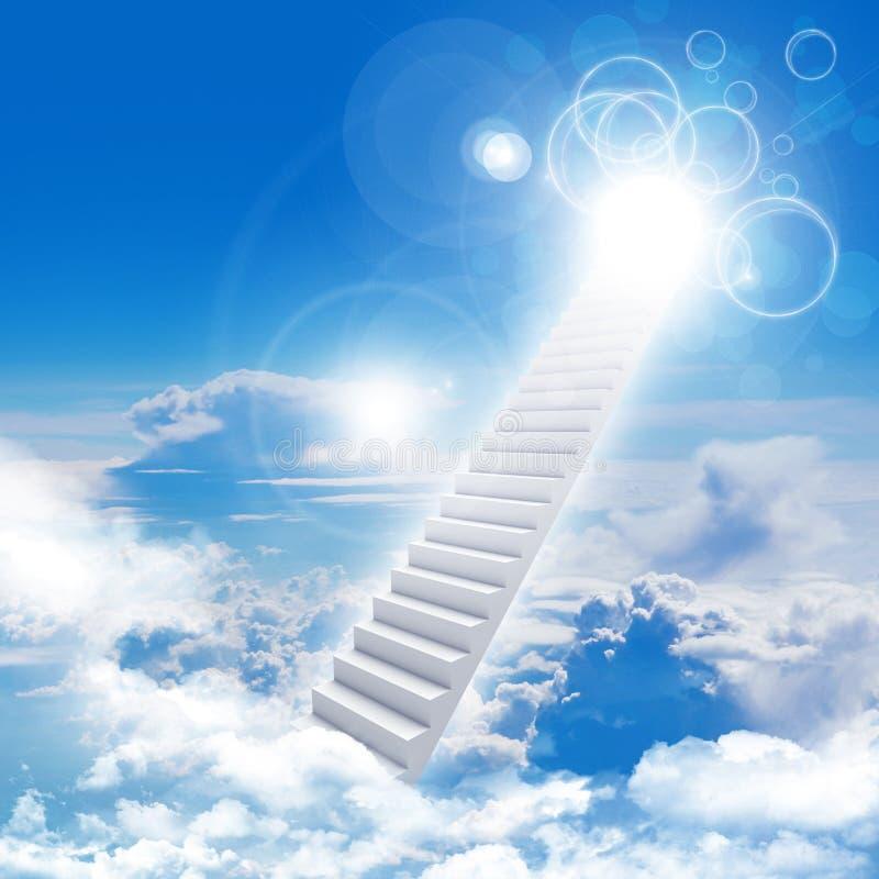 Escaliers en ciel avec les nuages et le soleil illustration stock