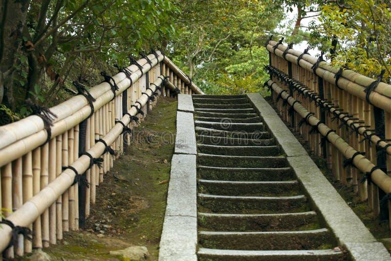 Escaliers en pierre avec des rails en bambou image stock