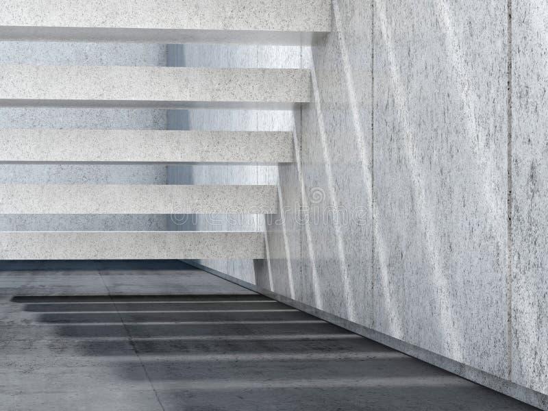 Escaliers en pierre et plancher en béton 3d rendent illustration de vecteur