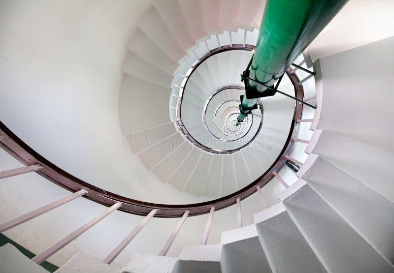 Escaliers en spirale dans le phare images libres de droits