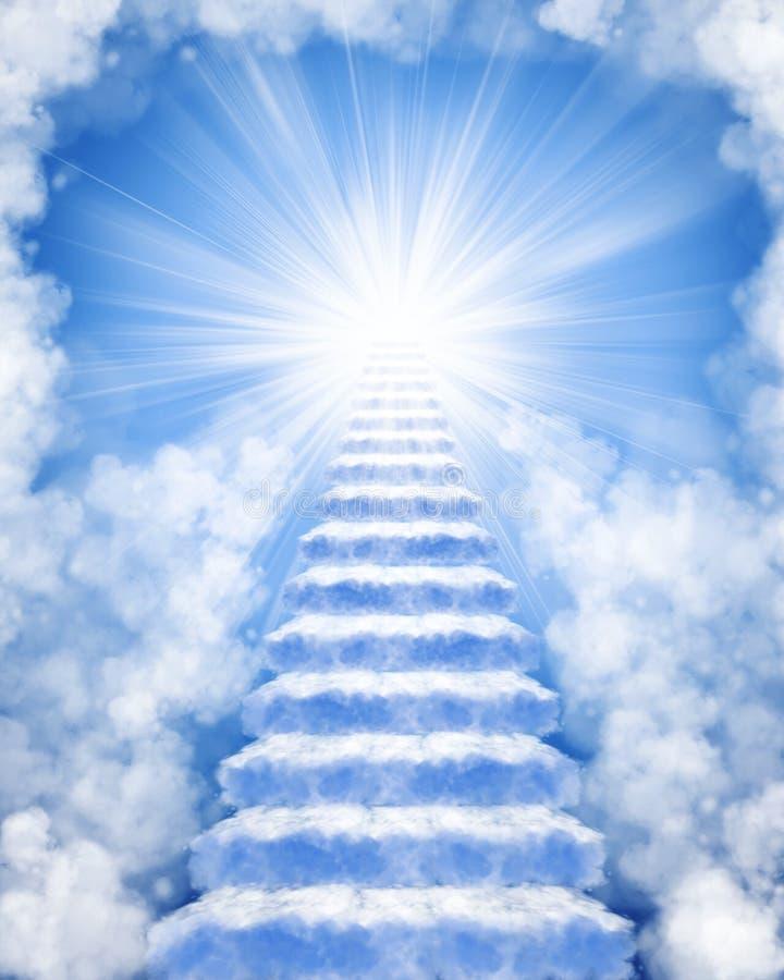 Escaliers faits de nuages au ciel illustration stock