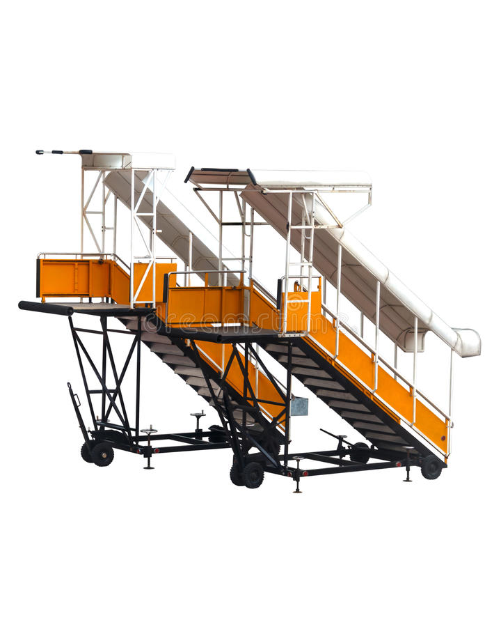 Escaliers jaunes de passager d'avions images libres de droits