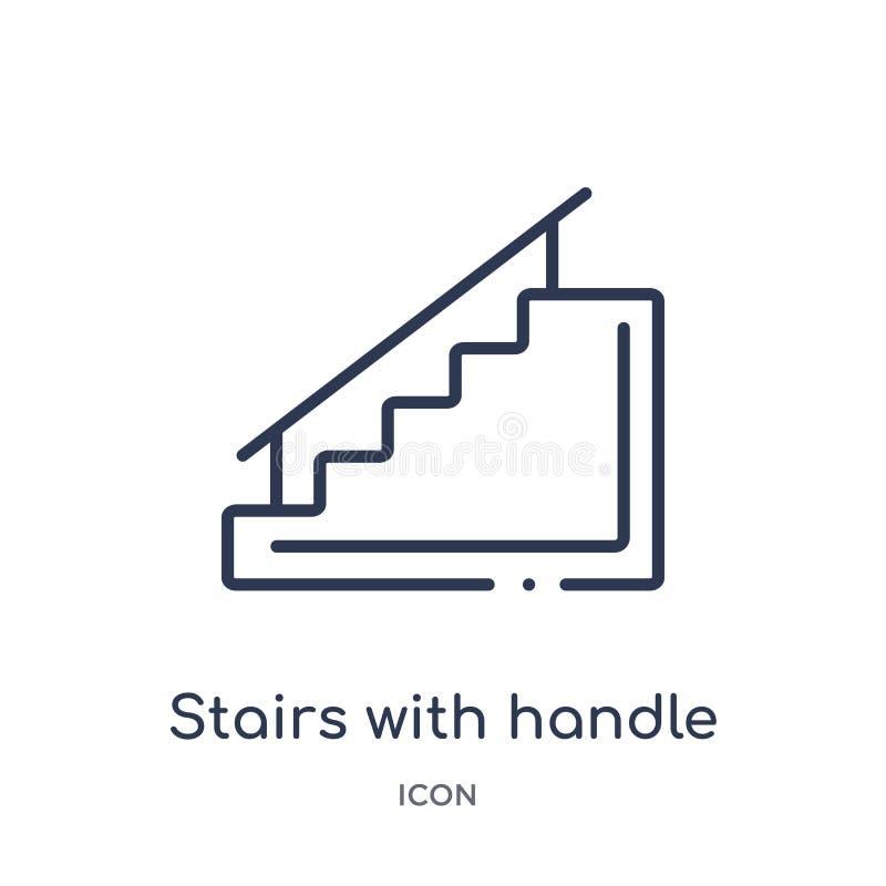 Escaliers linéaires avec l'icône de poignée de la collection d'ensemble de construction Ligne mince escaliers avec le vecteur de  illustration libre de droits