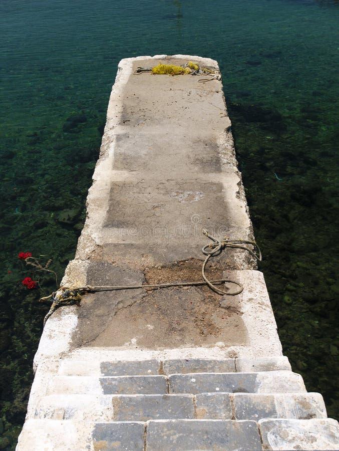 Escaliers menant pour cimenter la jetée sur la mer de turquoise images stock