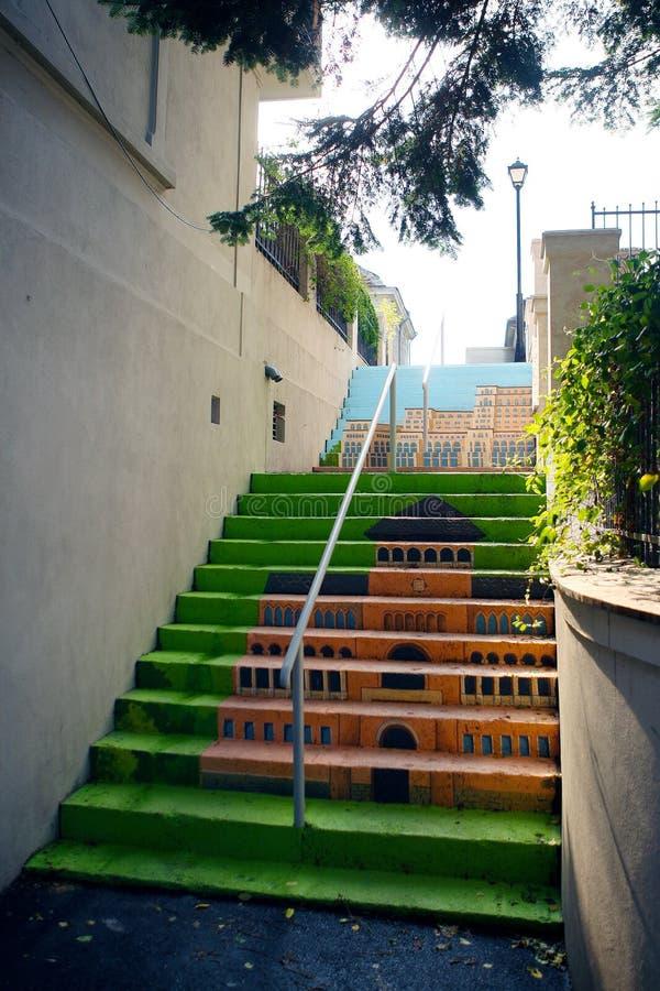 Escaliers Peints De Bucarest Photo éditorial - Image du roumain ...