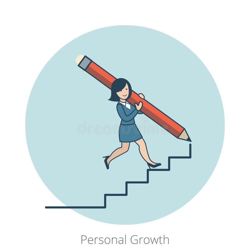 Escaliers personnels plats linéaires de femme d'affaires de croissance illustration stock