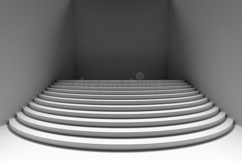 Escaliers ronds blancs dans la vue de face grande-angulaire de pièce vide sombre illustration de vecteur