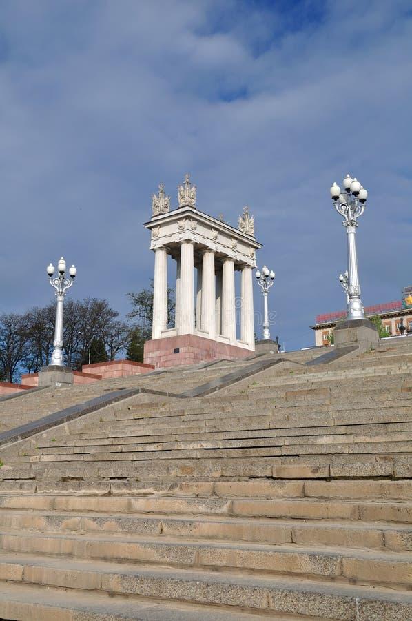 Escaliers sur le remblai de Volgograd Russie photos libres de droits
