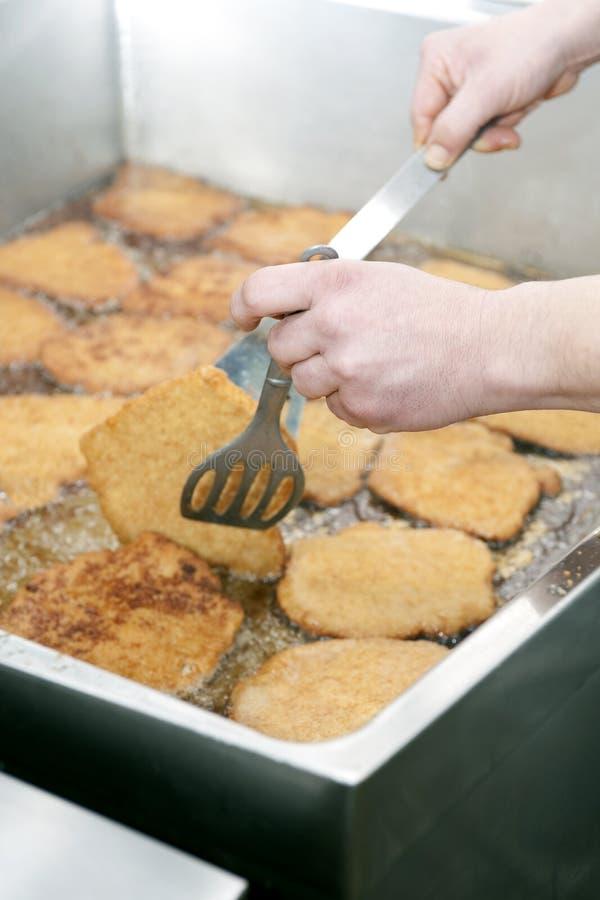 escalope τηγανίζοντας στοκ εικόνες με δικαίωμα ελεύθερης χρήσης