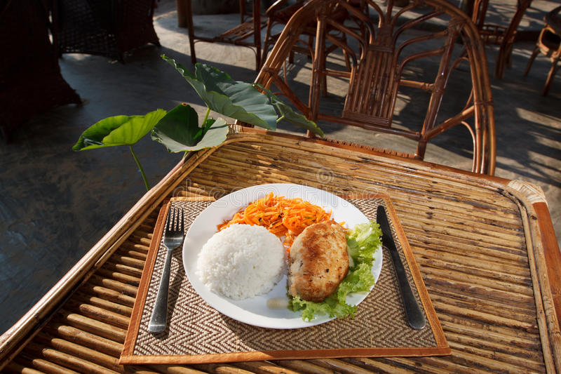 Escalope цыпленка с испаренным салатом риса и моркови стоковые фотографии rf