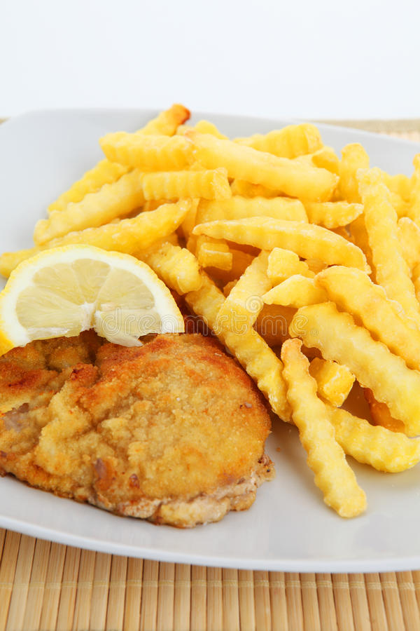 Escalope en frieten royalty-vrije stock foto