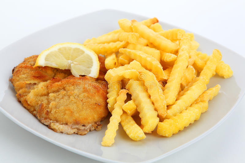 Escalope en frieten stock fotografie