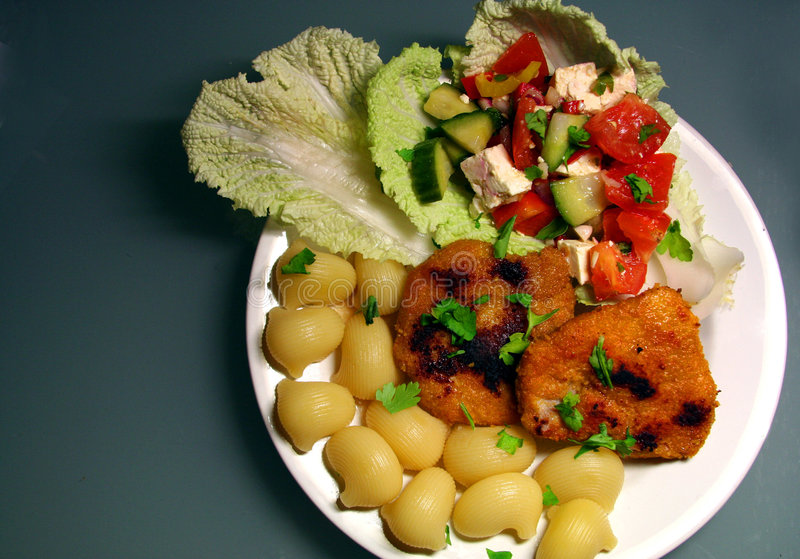 Download Escalopes With Noodles And Salad Stock Image - Image: 439909