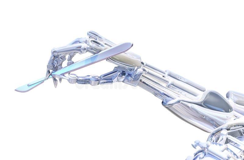 Escalpelo da terra arrendada da mão do cirurgião do robô Conceito robótico da cirurgia ilustração 3D ilustração do vetor