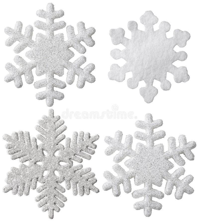 Escama blanca aislada copo de nieve de la nieve de la decoración de la ejecución de la Navidad fotos de archivo