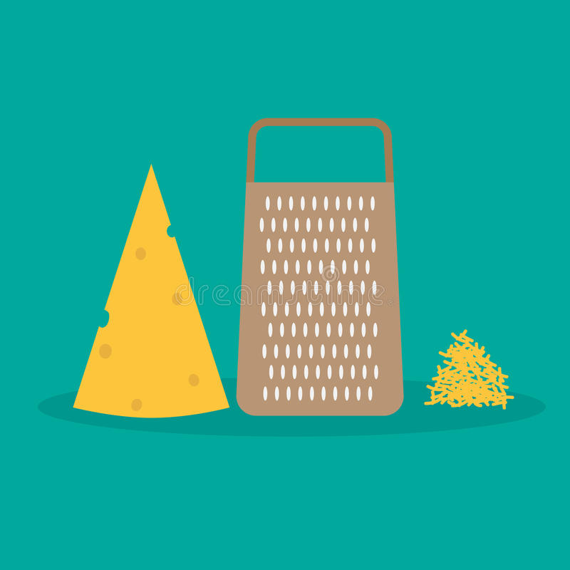 Escamas del rallador del queso y del queso imagen de archivo