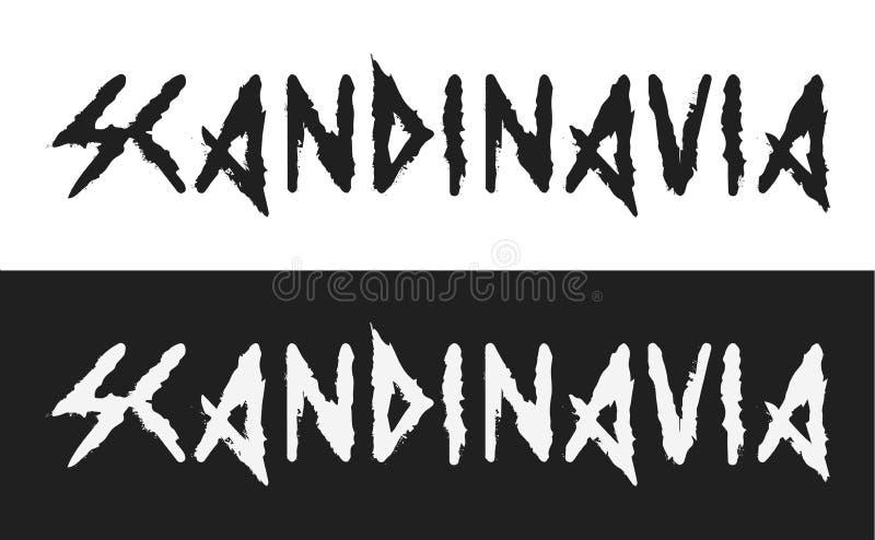 Escandinavia, etiqueta del texto del vector en estilo oscuro con el estilo blanco y negro antiguo del alfabeto de vikingo aislada libre illustration