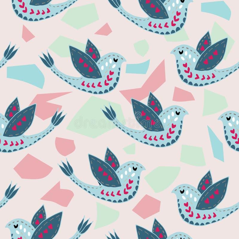 Escandinavo Birdie Pattern Design ilustração stock