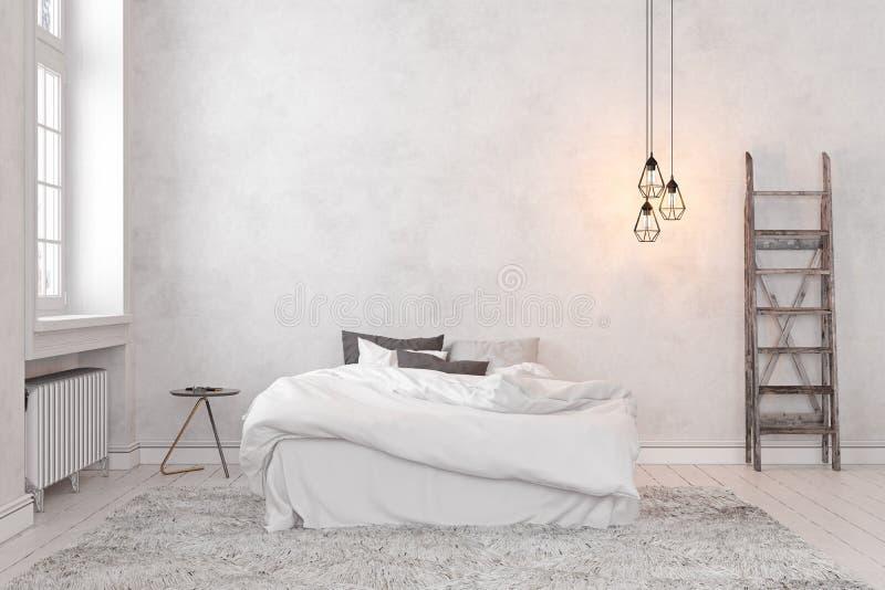 Escandinavo, dormitorio blanco vacío interior del desván stock de ilustración