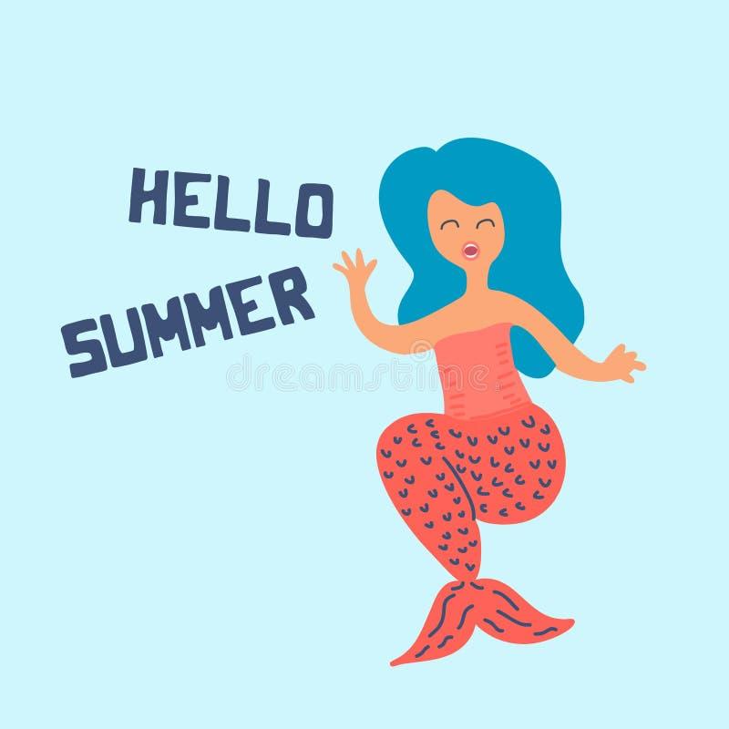 Escandinavo lindo de la sirena del verano que dibuja con el texto para el cartel y el t-shrit Diseño del saludo de la moda del be ilustración del vector