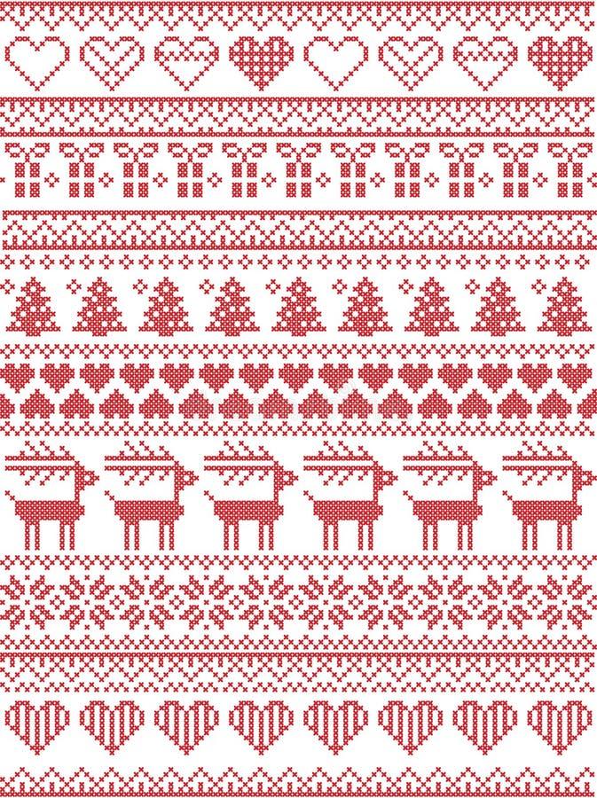 Escandinavo, modelo inconsútil de costura de la Navidad del invierno nórdico del estilo incluyendo los copos de nieve, corazones, stock de ilustración
