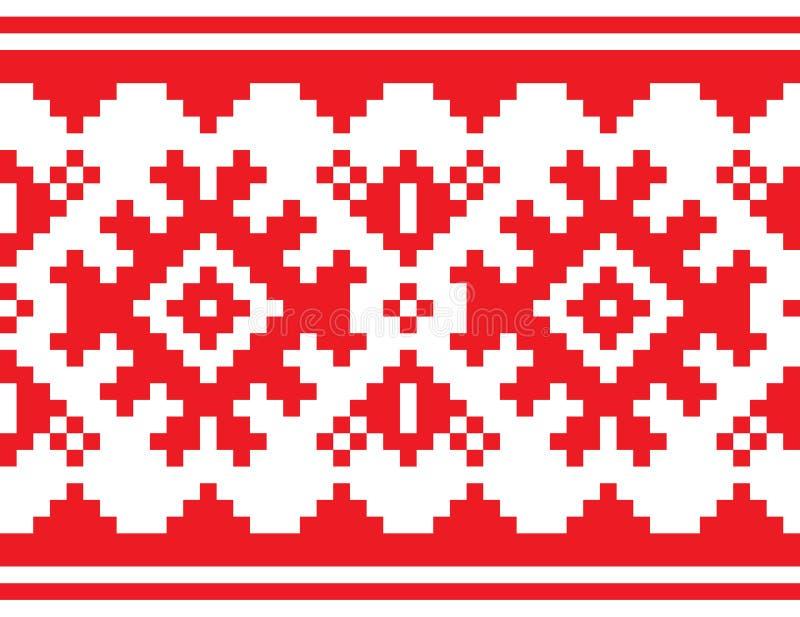 Escandinavo, teste padrão sem emenda da correia nórdica, projeto vermelho longo da arte popular de Lapland, fundo tradicional dos ilustração stock