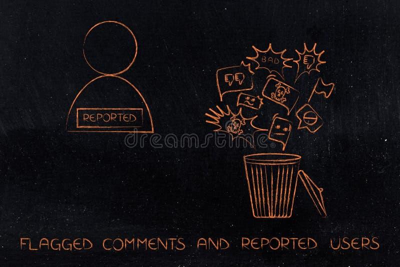 Escaninho com o índice negativo que obtém suprimido ao lado do usuário relatado ilustração stock